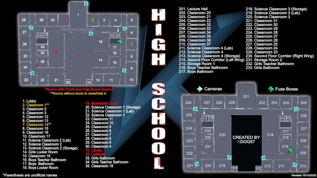 Phasmophobia Brownstone High School Map