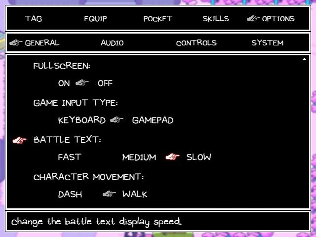 Omori Video Game Configuration Screen Battle Text
