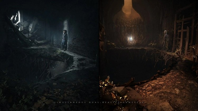 The Medium Video Game Simultaneous Dual Reality Gameplay Pit Scene