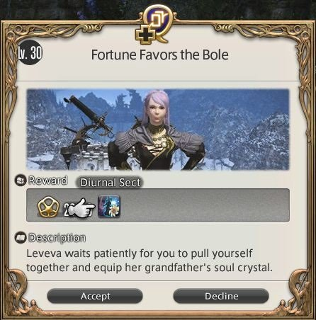 Final Fantasy XIV Fortune Favors The Bole - Leveva waits patiently for you to pull yourself together