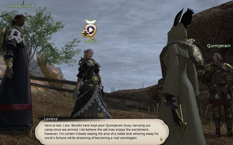 Final Fantasy XIV Hanging In The Balance - Leveva - Here at last - bandits have kept poor Quimperain busy