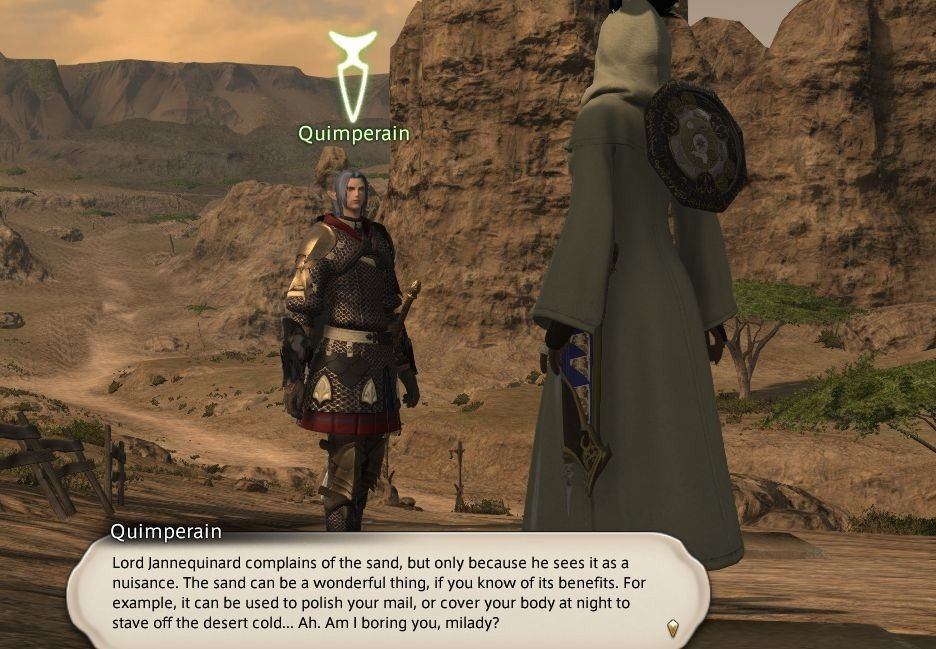 Final Fantasy XIV Hanging In The Balance - Quimperain - Lord Jannequinard complains of the sand
