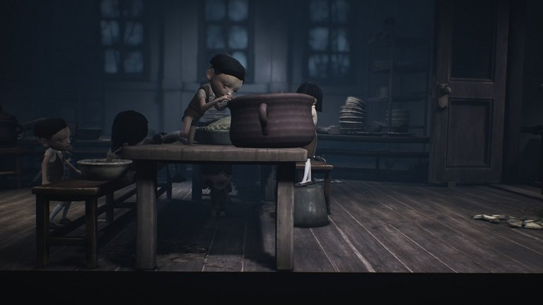 Little Nightmares 2 game guide - Wait by the last table on the kid pushing the pot