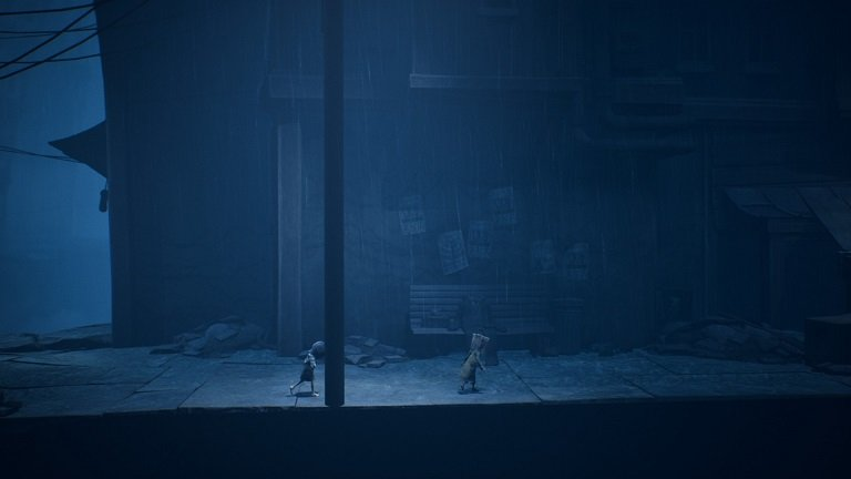 Little Nightmares II Game Guide - Mono and Six walking towards a dumpster