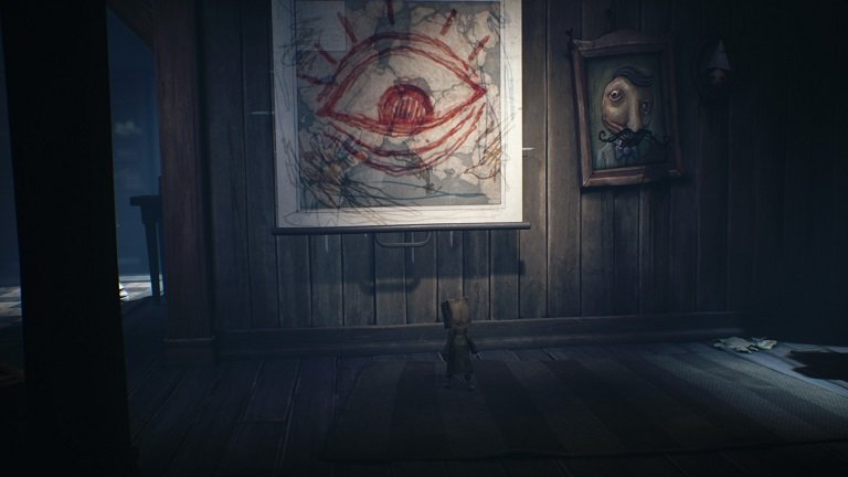 Little Nightmares II Game guide - Drawing of an red eye on the wall - pull the lever
