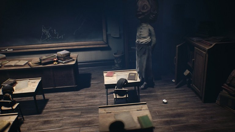 Little Nightmares II game guide - Mono coming out of the cabinet just behind the teacher