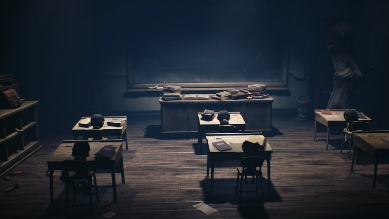 Little Nightmares II game guide - Mono moving to the next desk in the class room