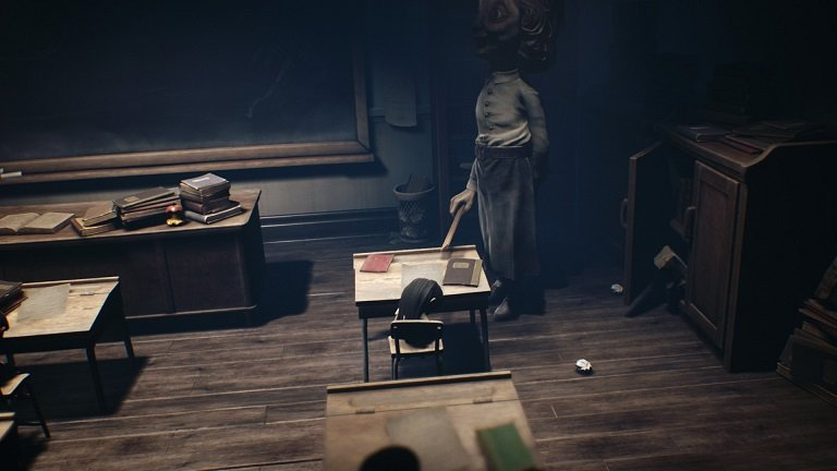 Little Nightmares II game guide - Teacher harasses childeren while mono sneaks behind her