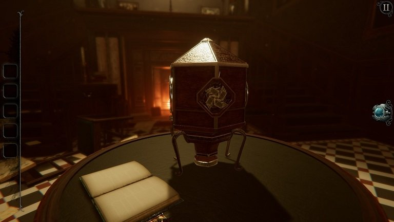 The Room 4 Old Sins game walkthrough - Place the crest on foyer table near book