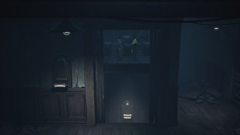 Elevator Puzzle In Little Nightmares II - Mon and Six hop onto the roof of elevator