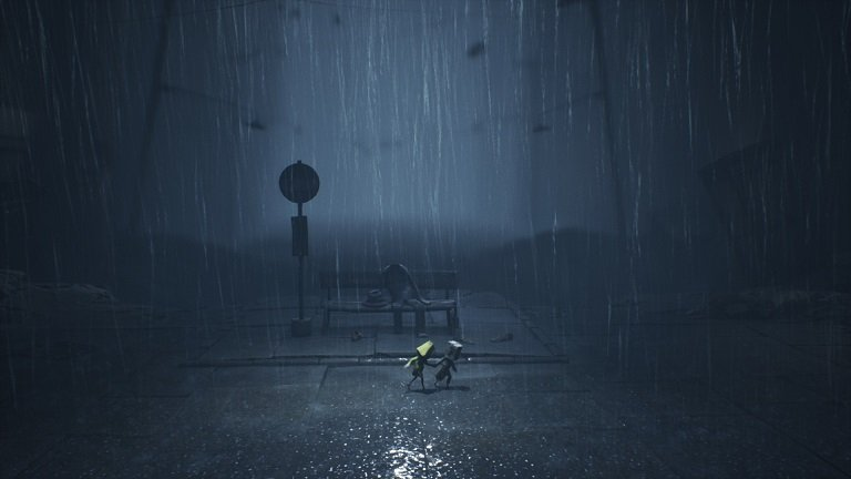 Little Nightmares 2 Game Guide - Mono helping Six holding hand in the rain