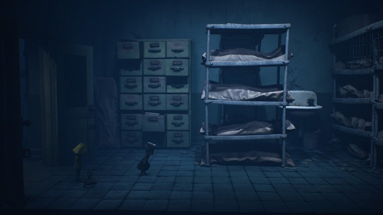 Little Nightmares II Hospital Walkthrough Guide – Entering a room with shelves of bodies