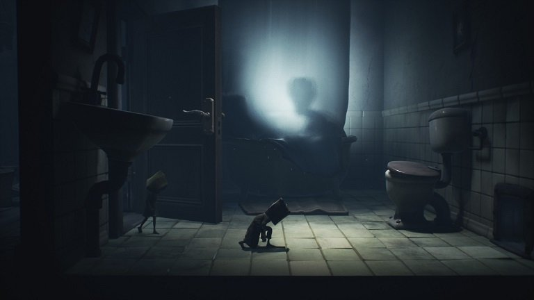 Little Nightmares II Pale City Walkthrough – Entering room with viewer in the bathtub