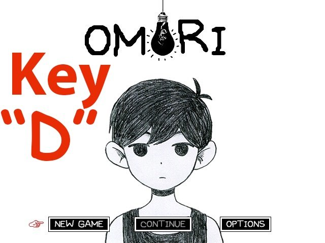 Where is the D key in Omori