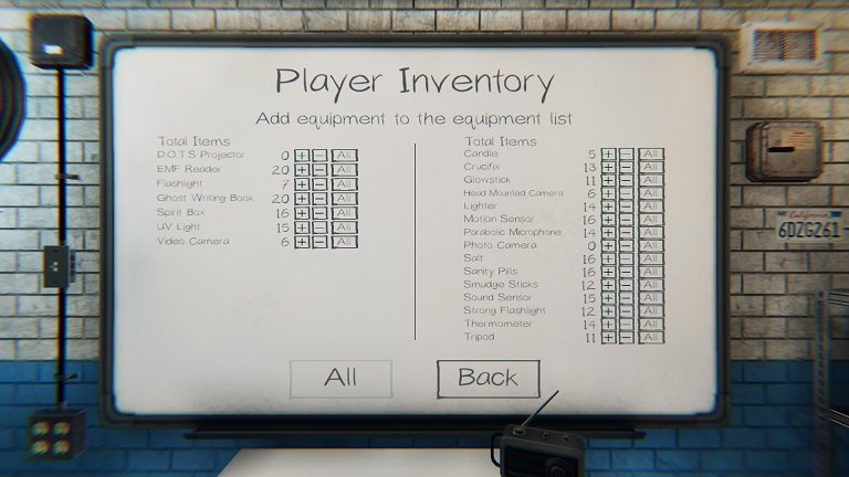 Phasmophobia Player Inventory White Board